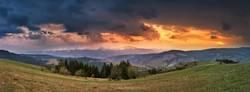 April storm and sunset. Spring evening