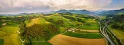 Spring travel in Austria. Green fields