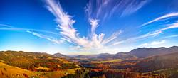 Panoramic view of autumn mountain valley