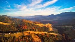 Sunlight on the hills. Autumn sunset on mountain range.