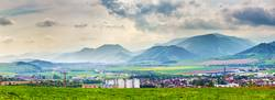 Spring storm in mountains panorama. Liptov town in Slovakia
