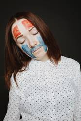 girl with creative makeup on her face