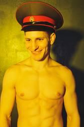 sports guy in a military cap