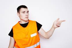 man in the form of road worker