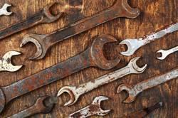 Metal bunch wrench rusty iron metal tools