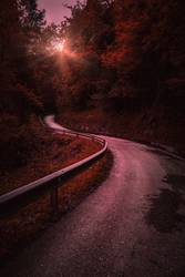 road and sunset in the forest in the mountain