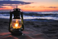 Oil lamp in the sunset