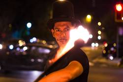 A street artist who makes a show in Lima - Peru, juggling