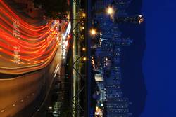 night road, split in colour