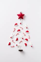 Christmas tree made with Christmas ornaments