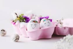 OSTERkuschelEI in pink - süße Ostereier in rosa Eierkarton