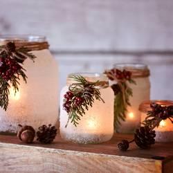 Weihnachtliche Winterlaternen - Upcycling