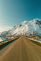 lonely road in winter, lofoten - norway