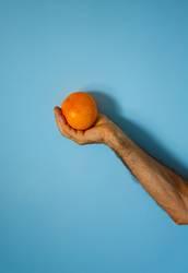 orange in hand on blue wall