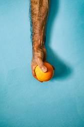 orange in hand on blue wall II
