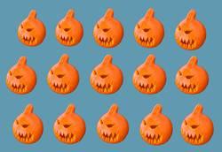 pumpkins on blue background
