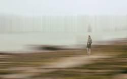 man observing the marsh, hendaye - france