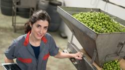 Woman in olives factory