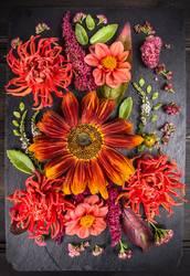 Herbst Blumen Komposition mit Sonnenblumen und Dahlien.