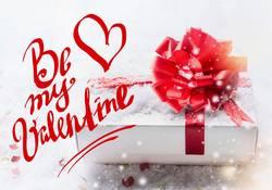 Valentinskarte. Be my Valentine mit Geschenk
