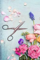 Sommerblumen und Schere