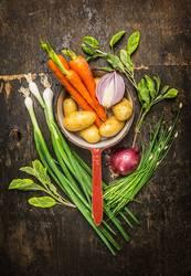 Vegetarisch Kochen mit frischen Garten Gemüse