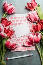 Grußkarte für Frühlingsfeste mit hübschen Tulpen