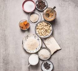 Gesunde vegane glutenfreie Kuchen Zutaten