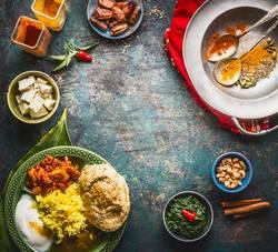 Hintergrund mit Indischen Speisen