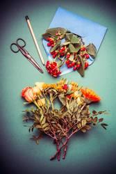 Herbst Blumenstrauß mit Briefumschlag
