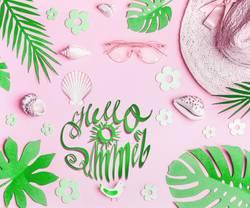 Hello summer. Pastellrosa Sommer Accessoires