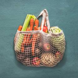 Wiederverwendbare Einkaufstasche voller Bio-Gemüse
