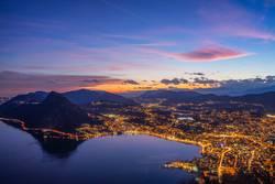 Sonnenuntergang über Lugano