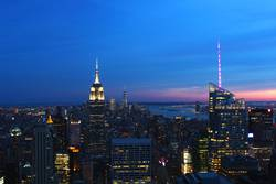 Midtown New York City at sunset