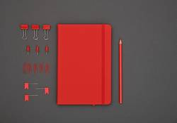 Neatly organized red stationery flat lay on grey
