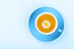 Blue cup of herbal tea with camomile