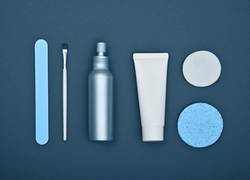 Flat lay of beauty and skin care products