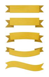 Set of brushed gold metal ribbon banners