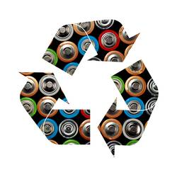Recycling symbol of alkaline batteries