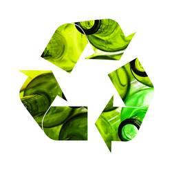 Illustration of recycling symbol of glass bottles