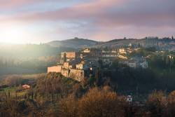 Panoramic view of the San Giovanni d'Asso in the Tuscan