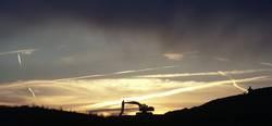 Bagger im Sonnenuntergang