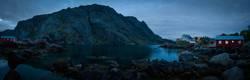 A moody village at dusk on Lofoton Island