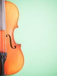 Geige auf grünem Untergrund