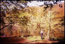 Herbstbild mit Wanderer