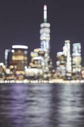 Blurred New York City skyline, USA.