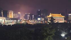 Xian skyline with City Wall at night, China.