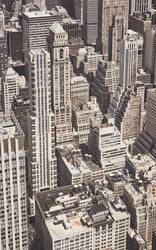Retro toned aerial view of New York City architecture, US.
