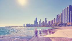 Chicago waterfront against the sun.