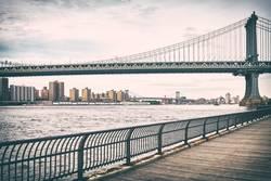 Old film stylized picture of Manhattan Bridge.